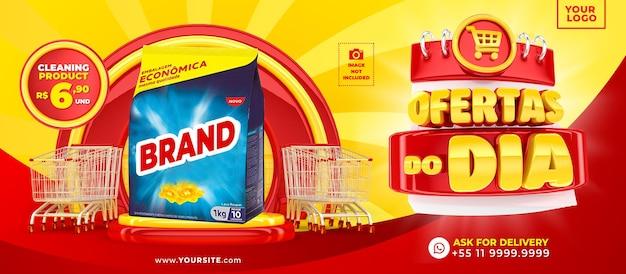 Marketing campaign in brazil template design 3d render