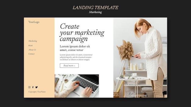 Marketing campaign landing page template