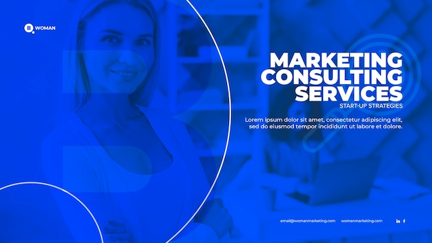 Marketing content with business woman