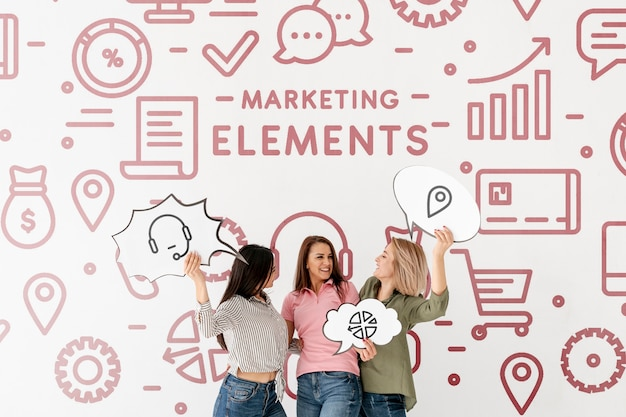 Marketing elements doodle background with women