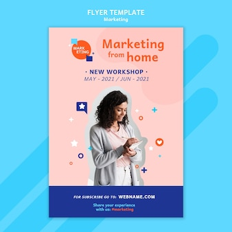 Marketing flyer template with photo