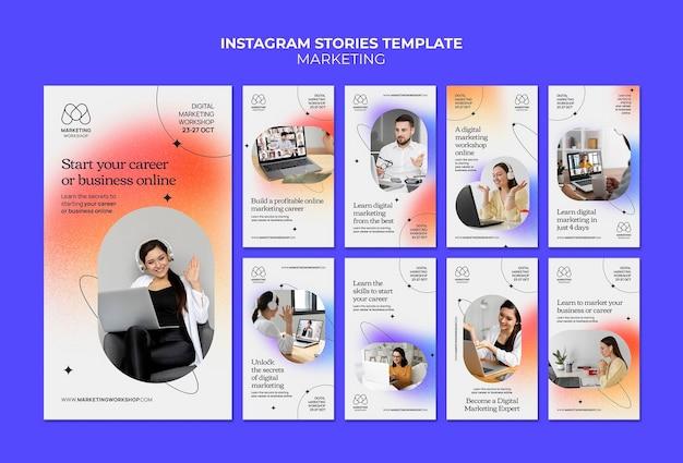 Дизайн шаблона маркетинговой истории insta