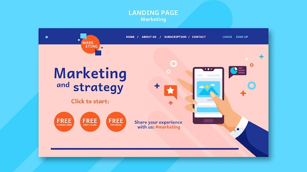 Marketing landing page template with photo