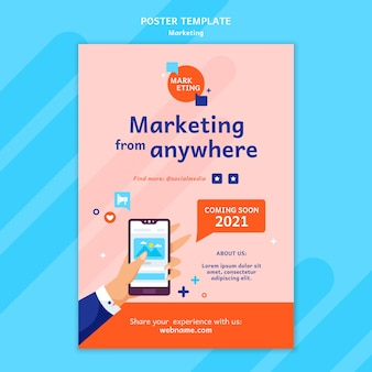 Marketing poster template with photo