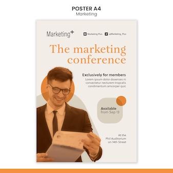 Modello di poster di marketing con foto