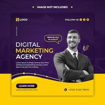 Маркетинг в социальных сетях instagram веб-баннер или квадратный флаер шаблон