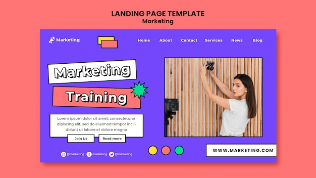 マーケティングトレーニングのランディングページテンプレート