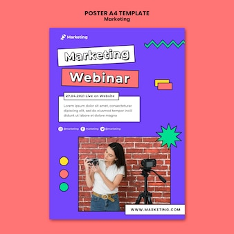 Modello di poster webinar di marketing