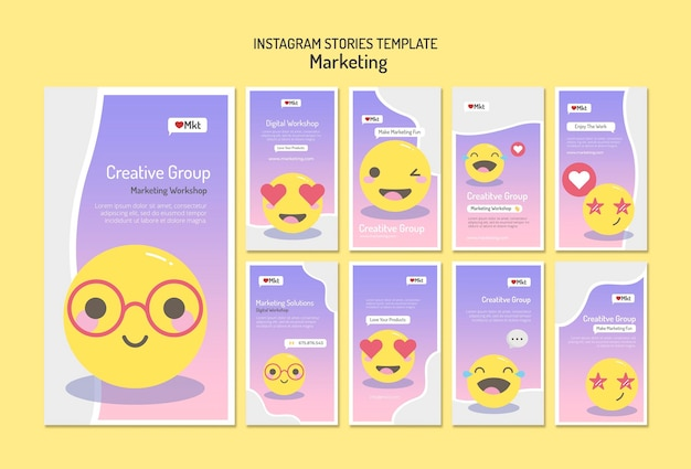 Marketing workshop social media stories template