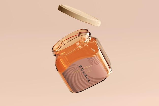Mockup di barattolo di vetro marmellata
