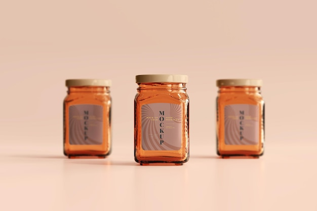 Marmalade glass jars mockup
