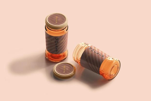 Макет стеклянных банок с мармеладом