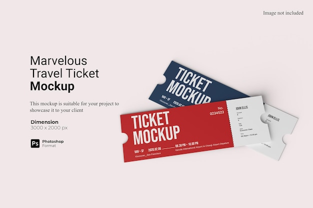 Marvelous travel ticket mockup design in 3d rendering