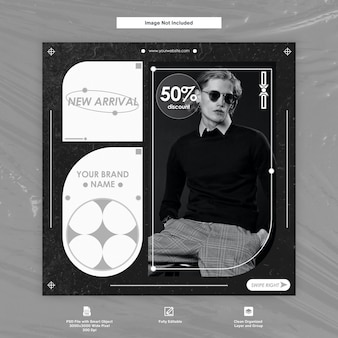男性的なファッションinstagramの投稿ソーシャルメディアプレミアムテンプレート