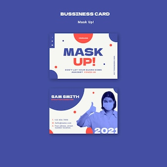Mask up 2021 business card template