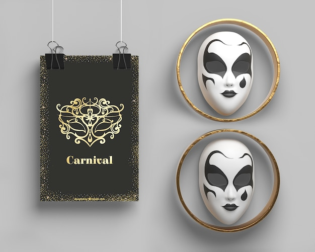 Masquerade party mock-up and masks in rings