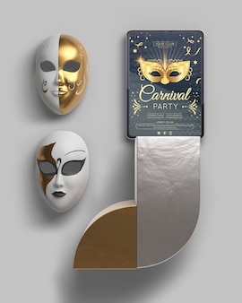 Design minimalista mock-up per feste in maschera