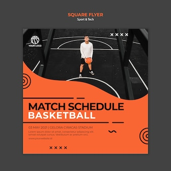Match schedule basketball square flyer template