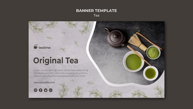 Matcha tea banner template concept