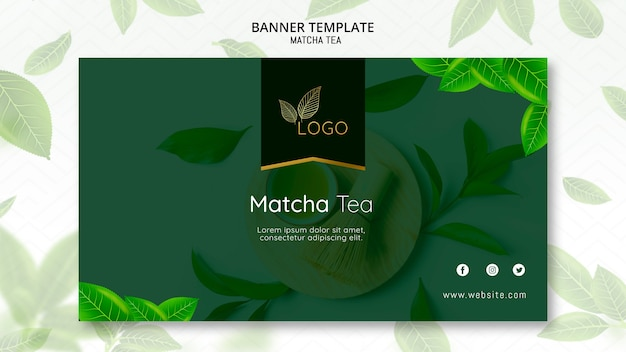 Matcha tea banner template with leaves