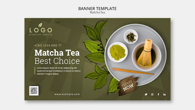 Matcha tea banner template with photo