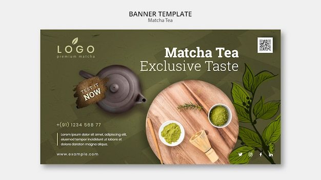 Matcha tea banner template with picture