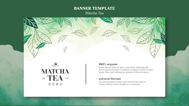 Matcha tea concept banner template mock-up