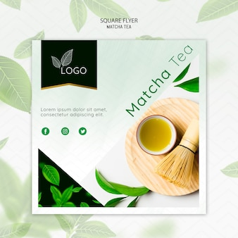 Matcha tea flyer template with bamboo whisk