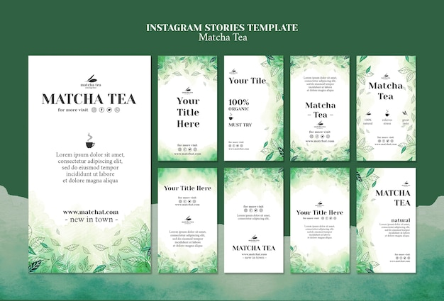 Matcha tea instagram stories tamplate concept mock-up