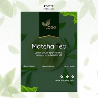 Matcha tea poster template