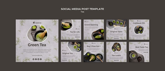 Matcha tea social media post template