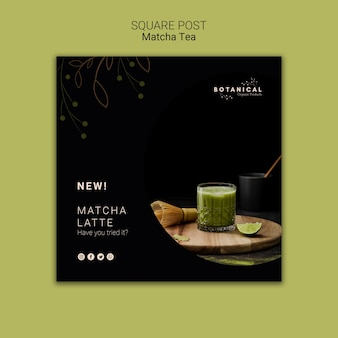 Matcha tea square post concept