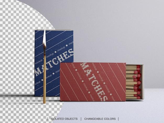 Matches box mockup with burning match isolated