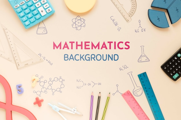 Математический фон с линейками и калькуляторами