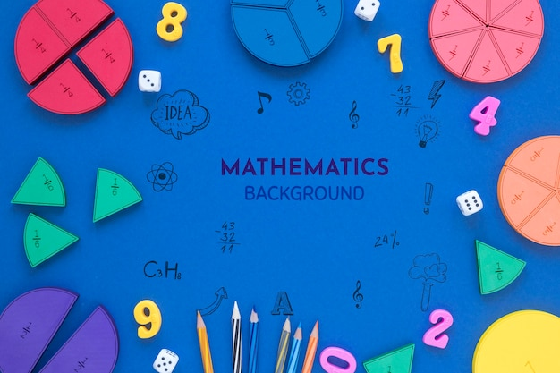 Mathematics background with shapes and numbers