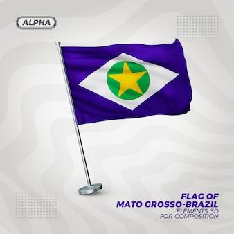 Mato grosso реалистичный 3d текстурированный флаг