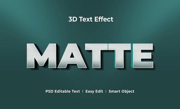 Matte 3d text effect mockup template