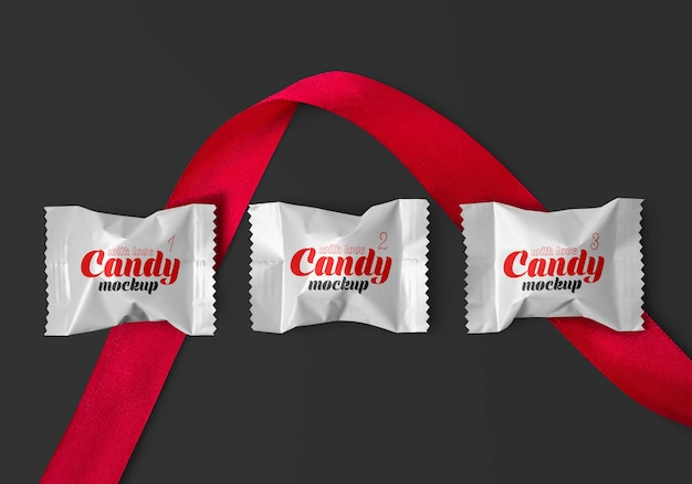 Matte candy with red ribbon mockup