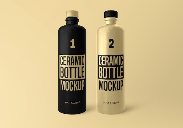 Matte ceramic bottle mockup