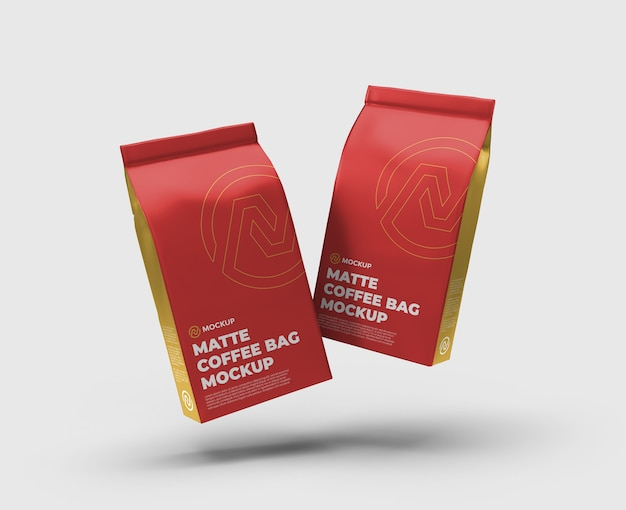 Matte coffee bag float mockup float front view