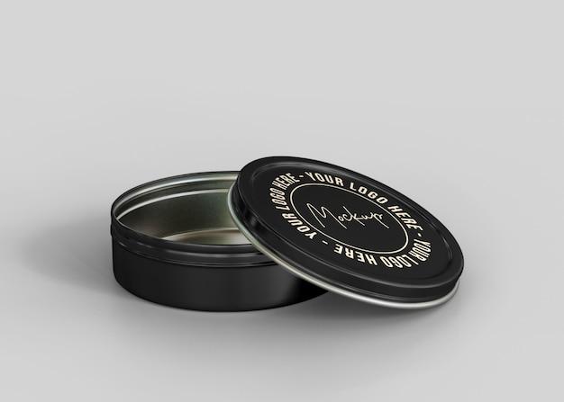 Matte cosmetic tin can mockup