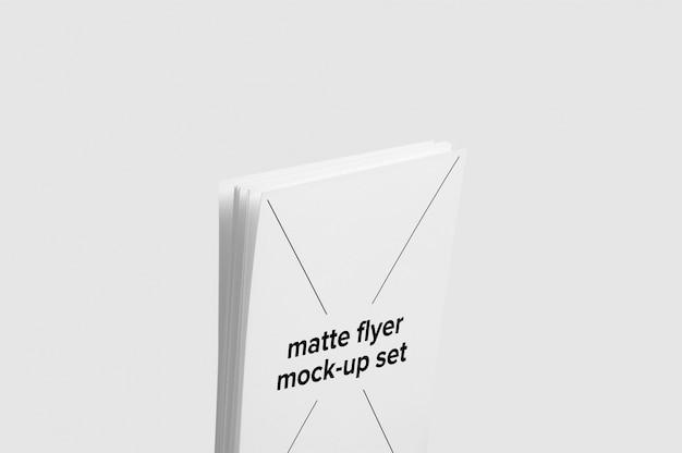 Matte flyer mock up set in the middle