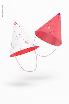 Mockup di cappelli da festa opachi, fluttuanti