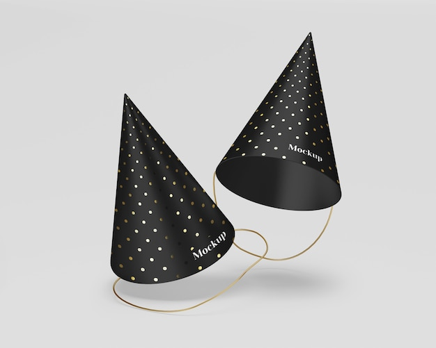 Matte party hats mockup with gold