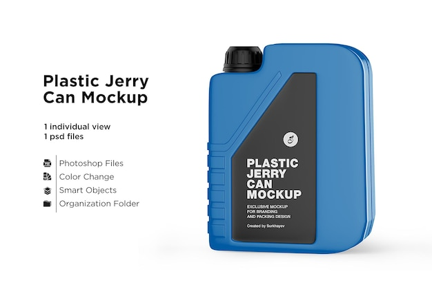 Matte plastic jerry can mockup isolated