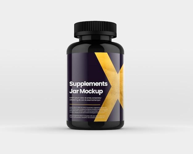 Matte plastic supplement jar mockup
