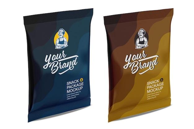 Дизайн мокапа матовой сумки для закусок в 3d-рендеринге