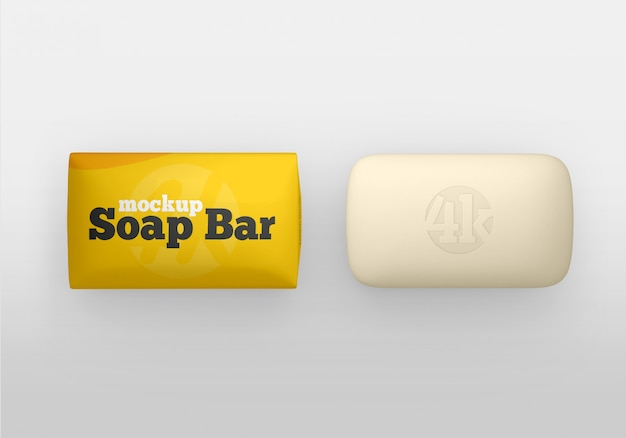 Matte soap bar and package mockup