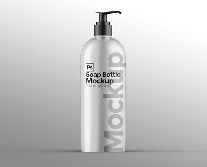 Matte soap bottle mockup with pump