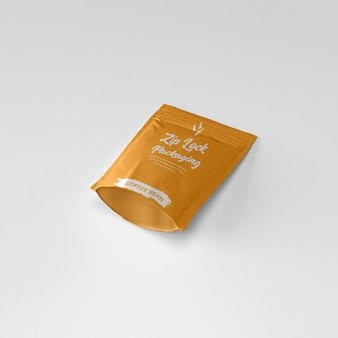 Matte ziplock pouch coffee powder container bottom laying down mockup